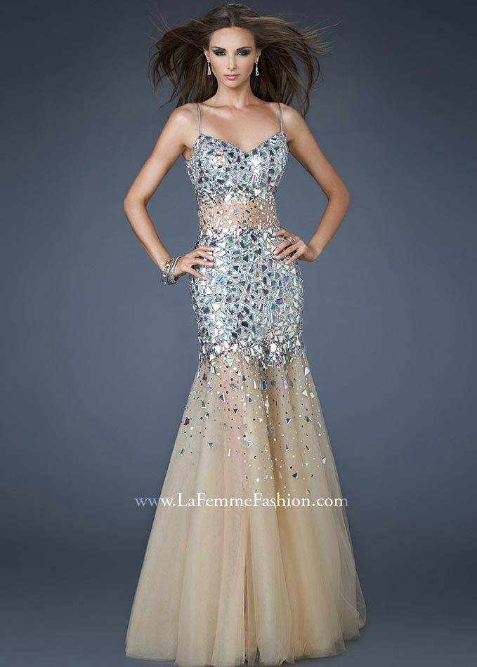 SEXY Silver and Nude Sheer Mermaid Formal Dress - Prom Dresses 2013 - La Femme 18689 - RissyRoos.com