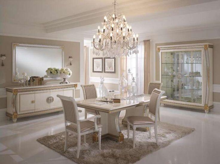 Sala da pranzo stile veneziano - Sala da pranzo classica nelle nuances del panna