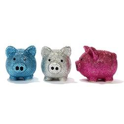 Two's Company Rhinestone Piggy Bank