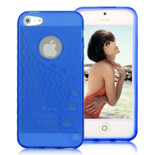 Stylish Wave-like Pattern Matte TPU Case For iPhone 5 - Transparent Blue