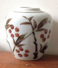 Vintage Small  Simple  Japanese Vase Hand Painted Bluish White Glaze