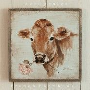French Farmhouse Cow with Rose