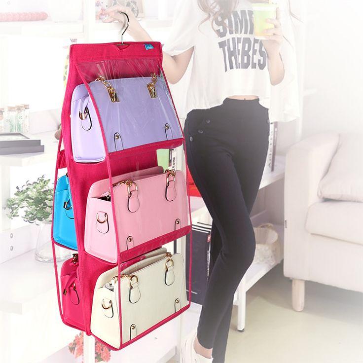 6 Pockets Hanging Storage Bag Purse Handbag Tote Bag Storage Organizer Closet Rack Hangers 4 Color