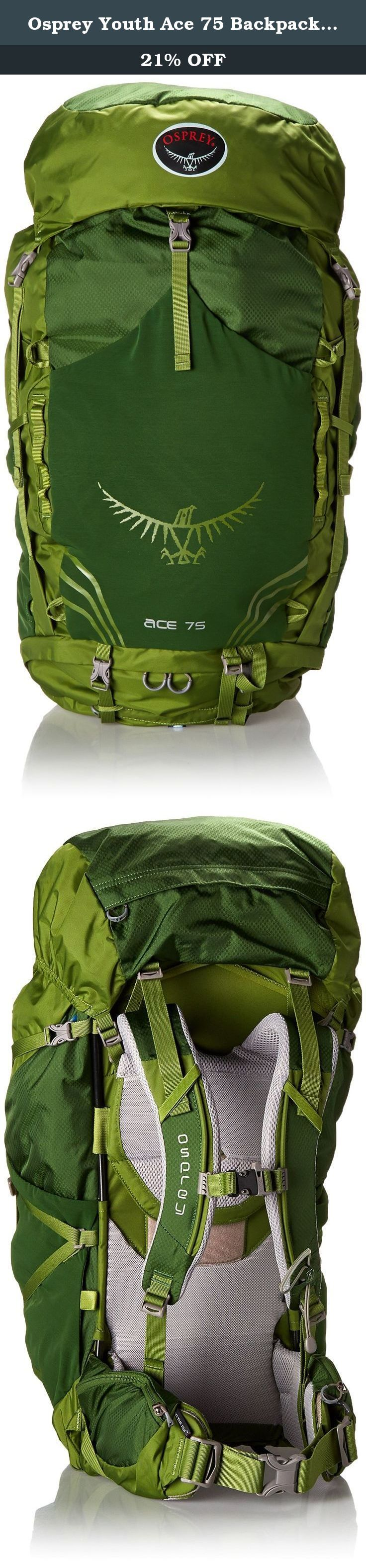 Osprey Youth Ace 75 Backpack, Ivy Green, One Size. The Ace 75 is a torso and hip belt adjustable technical daypack for young outdoor enthusiasts. The Ace 75 provides the capacity and organization required by outdoor education groups. Recommended age range: 11-18.