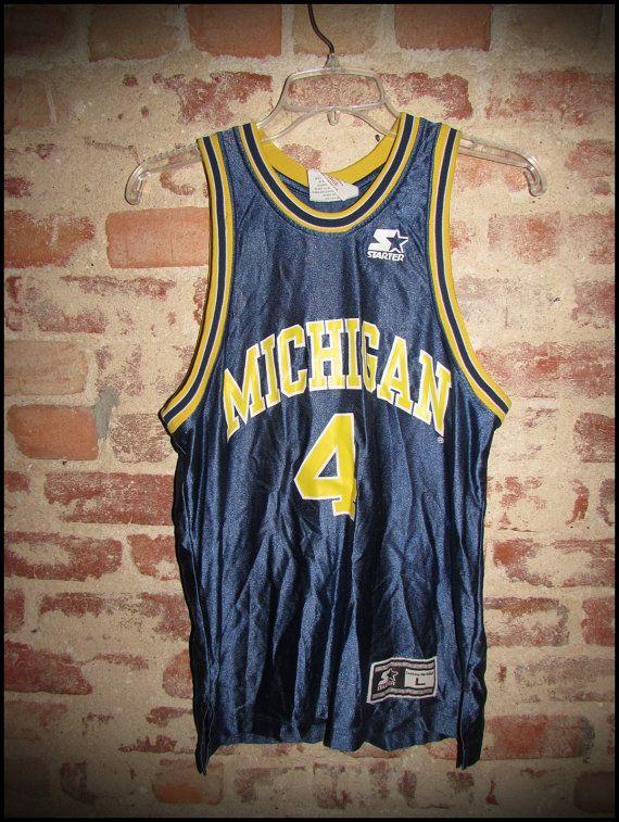 Vintage 90's Starter Michigan Wolverines Chris Webber C Webb Basketball Jersey by RackRaidersVintage