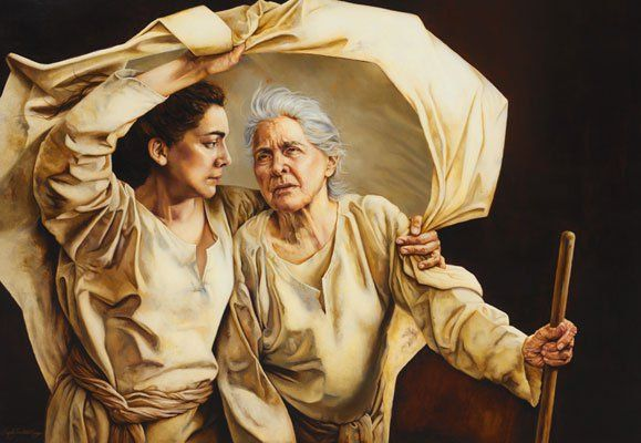 Naomi meaning 'pleasant' and her widowed daughter-in-law Ruth, abbr. of 'retut', 'lovely friend' matriarchs of Davidic family tree (via Joseph, foster father (Syriac 'amno' coach, trainer) also Jesus Christ | painting by Sandy Freckleton Gagon
