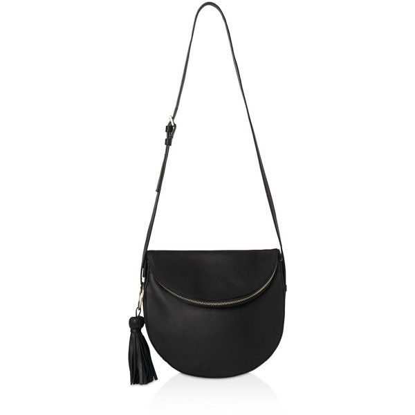 Whistles Clifton Tassel Zip Slouchy Leather Shoulder Bag (605 CAD) ❤ liked on Polyvore featuring bags, handbags, shoulder bags, white leather handbags, leather purses, zip shoulder bag, slouchy leather handbags and shoulder hand bags