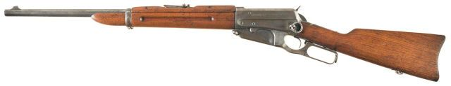 Winchester Model 1895 carbine Designed by John M. Browning and manufactured by Winchester Repeating Arms Co. c.1895-1936 and then on order until 1940 - serial number 8455.