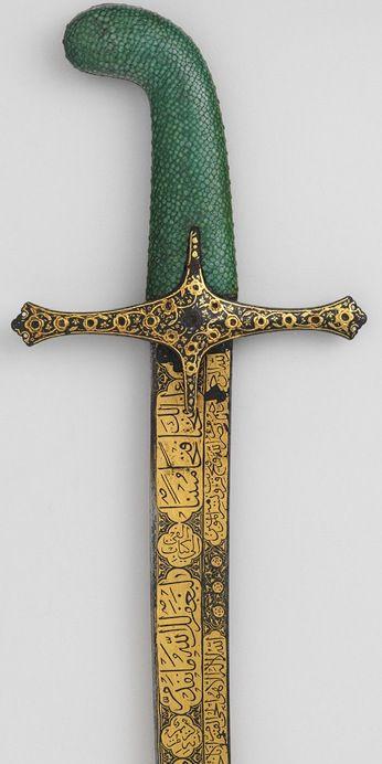 Saber, 16th century; Ottoman Turkish.  Steel inlaid with gold, precious stones, fishskin. | The Metropolitan Museum of Art