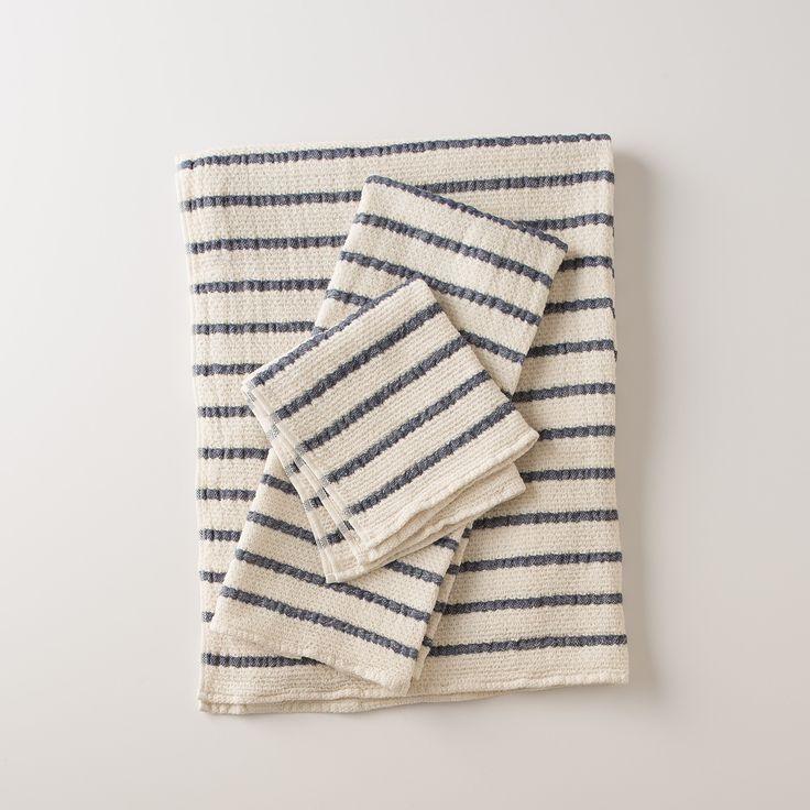 Waffle Stripe Towels Navy