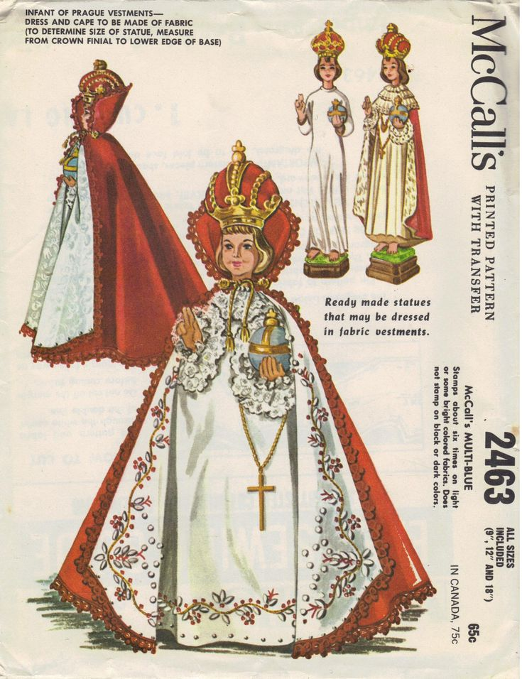 McCall's Infant of Prague vestment pattern from 1961 Green - Ordinary Time Purple - Lent, Candlemas and Advent Red or Gold - Christmas and Easter Royal Blue - Immaculate Conception / Feast of Assumption