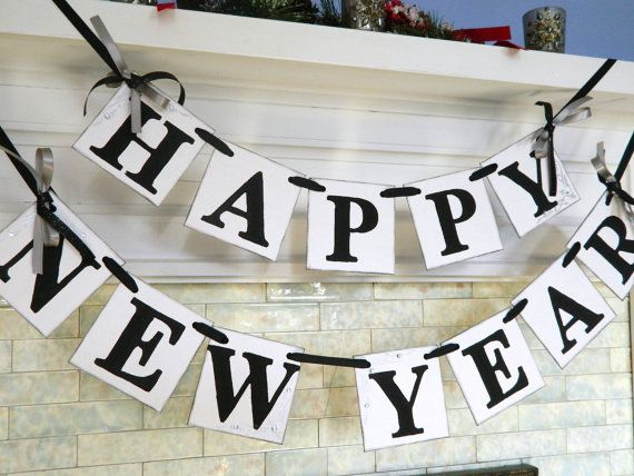 Happy NEW Year Banner New Years Eve Party Decorations Photo Prop-Holiday Garland Party Decor on Etsy, $24.00