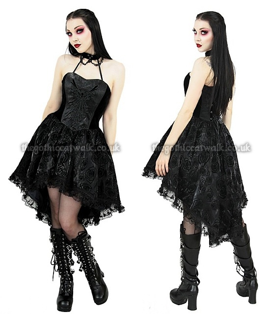 Black Gothic Doll Dress with Flocked Roses
