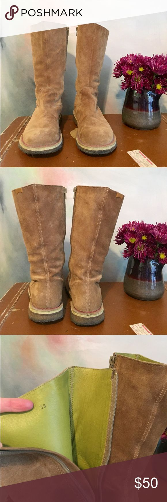Camper brown suede boots Super cute brown suede Camper boots EUC only signs of wear is on the bottom of the soles. Very comfortable!! Hits at mid/low calf. Shoes