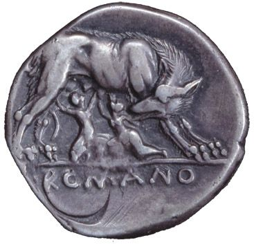 This is an image of a coin used during the Roman Republic era. On it we can see the She-wolf nursing Romulus and Remus.