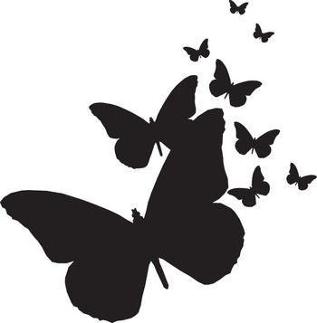 Butterflies Silhouettes - Rubber Stamps