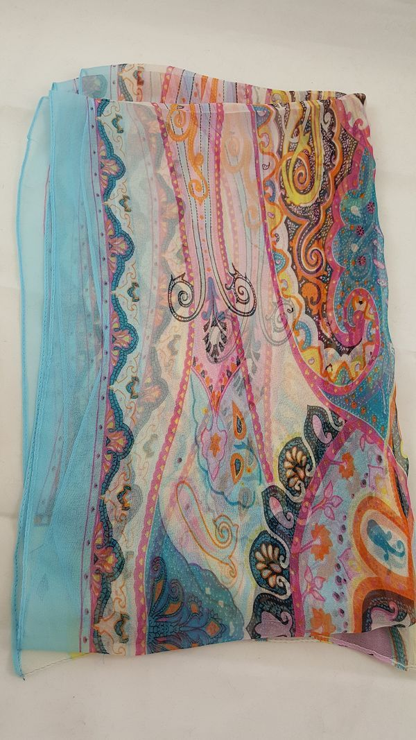 "Beautiful and colorful dreamy paisley chiffon scarf. Polyester 20 X 60"""