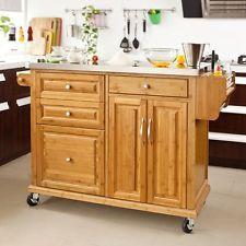 SoBuy®Carrito de cocina con piso de acero,carrito de servir de bambú,FKW14-N,ES