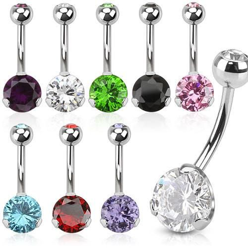 Prong Set Classic CZ 8mm Gem Surgical Steel Belly Button Navel Ring - Pierced Universe