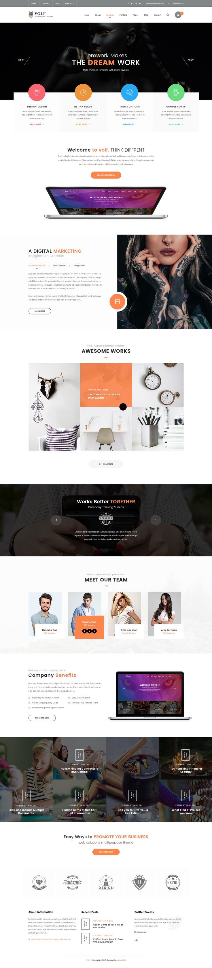 Volf - Creative Multipurpose PSD Template by winsfolio | ThemeForest