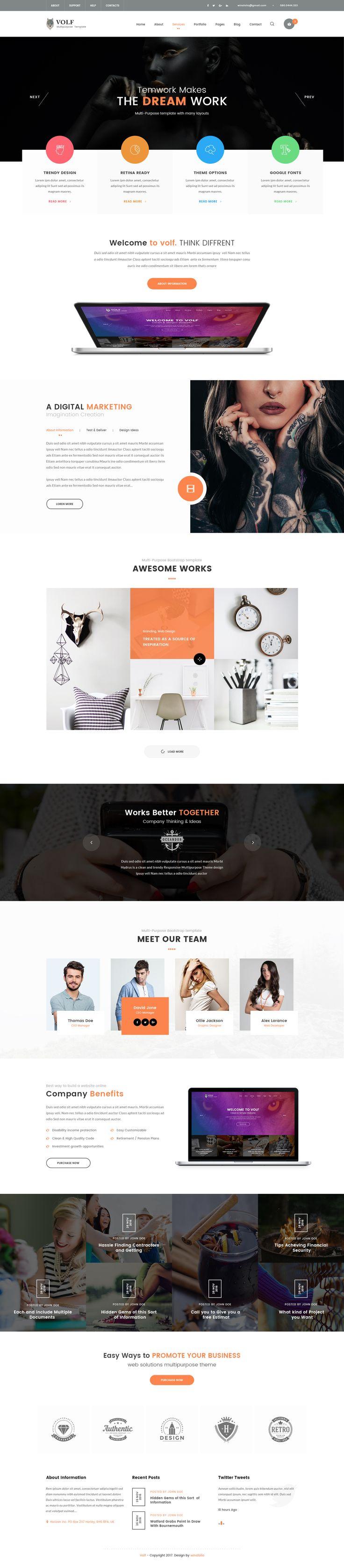Volf - Creative Multipurpose PSD Template by winsfolio | ThemeForest