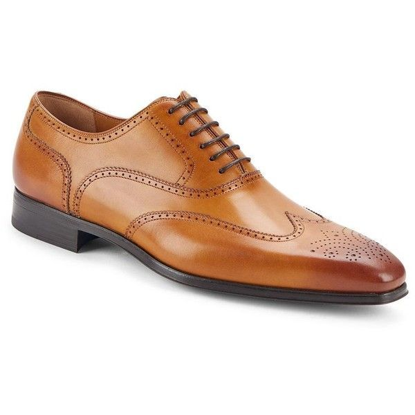 Saks Fifth Avenue by Magnanni Burnished Calfskin Leather Wingtip Shoes (245 AUD) ❤ liked on Polyvore featuring men's fashion, men's shoes, mens black wingtip shoes, calfskin mens shoes, mens perforated shoes, mens dress shoes and mens black shoes