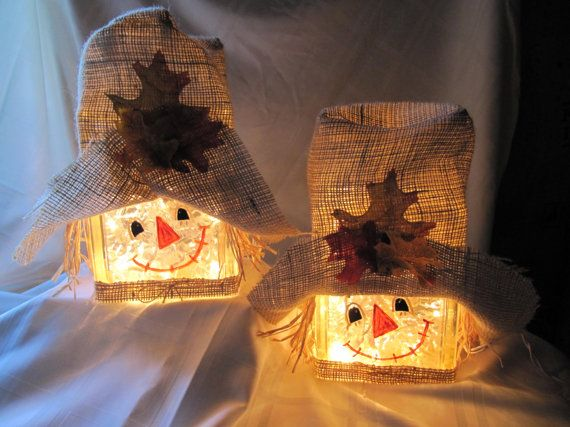 Scarecrow lighted glass block.  So cute.