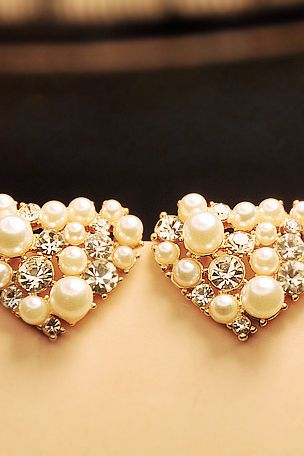 Rhinestone & Faux Pearl Heart Studs