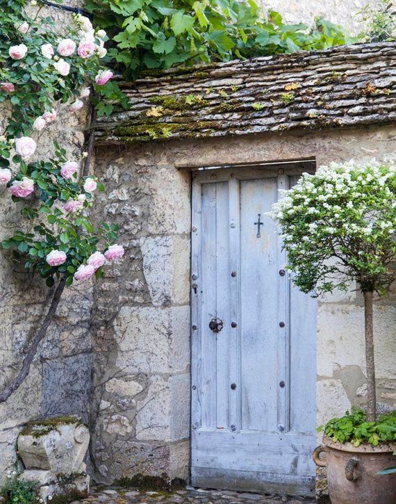 "France Photography, Fine Art Photo, French Countryside, Linda Ching photo, ""Blue Door Beynac"""