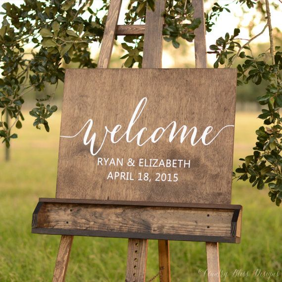 Welcome wedding sign Wooden Welcome Sign by florasouthdesigns