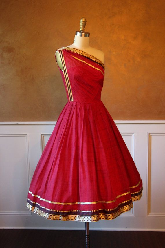 1950s Dress Vintage 50s Dress Red Silk Sari by jumblelaya