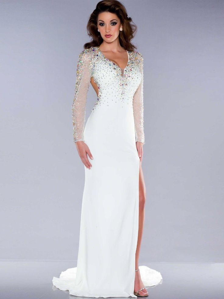 auroraldresses.com SUPPLIES Sexy V-Neck Floor-Length Trumpet/Mermaid Long Sleeve Beading White  Prom Dress Black Evening Dresses