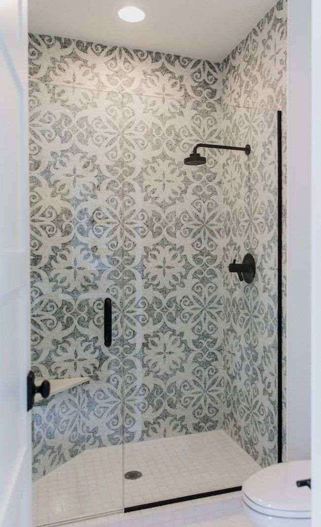 Stencil On To Shower Wall In Master Bathroom Use A Simple