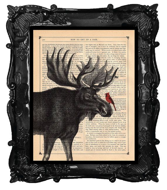 Cardinal and Moose Art Print Dictionary Original by BlackBaroque, $10.00