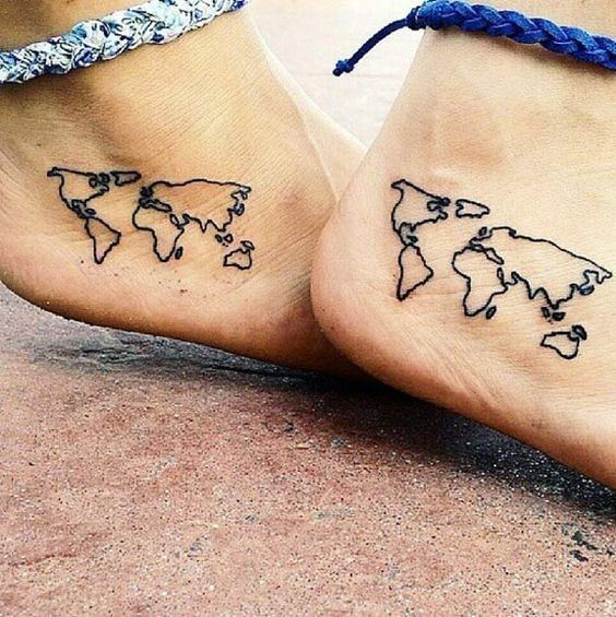 Twinning Globe-Trotters - Super Cute Matching Tattoo Ideas For You and Your Best Friend - Photos