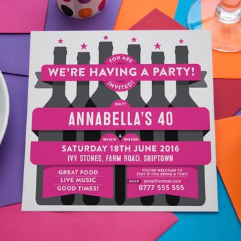 Personalised Party Invitations Wine Bottles