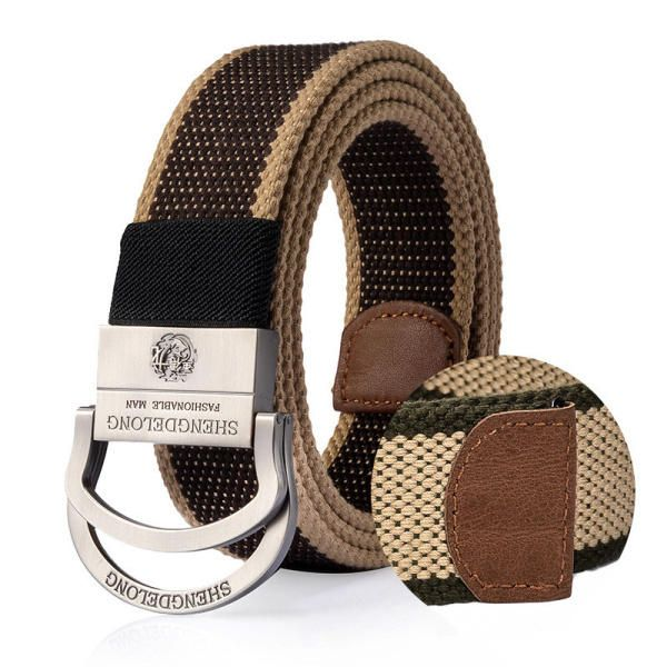 125cm Mens Double Ring Alloy Buckle Belt Outdoor Canvas Military