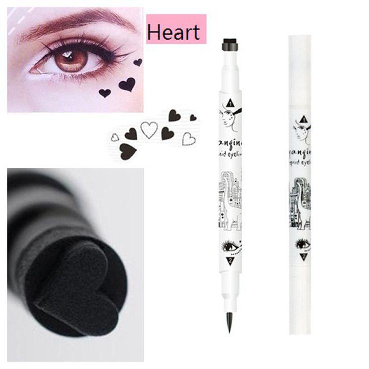 1 ST Trendy Zwarte Vloeibare Eyeliner Potlood Met 2 Zijden Trendy waterdicht Liquid Eye Liner Ster Hartvorm Dot Stempel Tattoo Ne0013