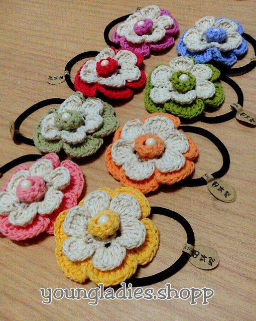Crochet Hair Rubber : crochet hair accessories on Pinterest Crochet hair clips, Crochet ...