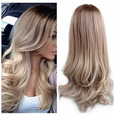 Lady Miranda Ombre Wig Brown To Ash Blonde High Density Heat Resistant Synthetic Hair Weave Full Wigs For Women(Brown&Ash blonde)