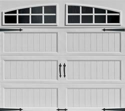 Ideal® 4-Star 9' x 7' White Arch Lite Long Panel Insulated Carriage House Garage Door