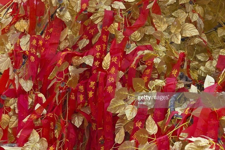 Stock Photo : Good wish tree decorated with red ribbons and golden leaves, Nanjing, Jiangsu Province, China