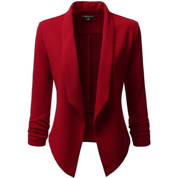 Doublju Classic Draped Open Front Blazer For Women With Plus Size ($26) ❤ liked on Polyvore featuring outerwear, jackets, blazers, open front jacket, red jacket, plus size blazers, red blazer jacket and drapey jacket