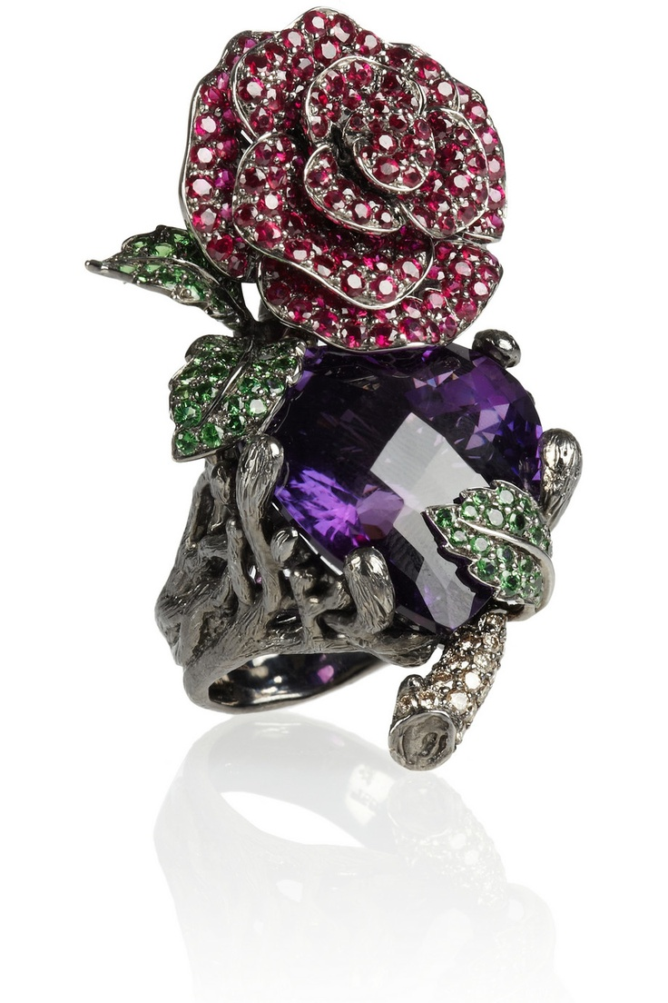 Lydia Courteille | Secret Garden 18-karat blackened white gold multistone ring | NET-A-PORTER.COM