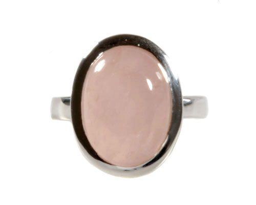 Zilveren ring rozenkwarts ovaal 1,6 x 1,2 cm maat 17 3/4
