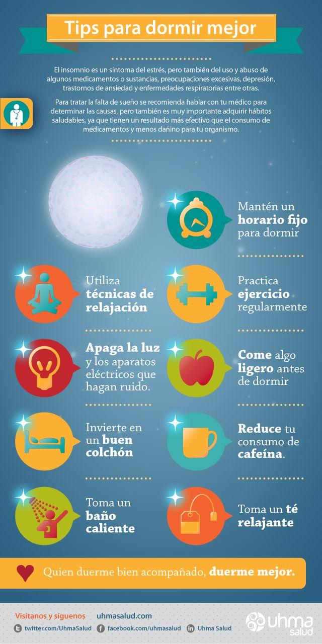 Infografía de salud. Tips para dormir mejor. / Health Infographic. How to Sleep Better.