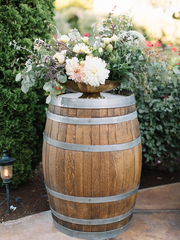 Old Wine Barrel Wedding Flowers Stand