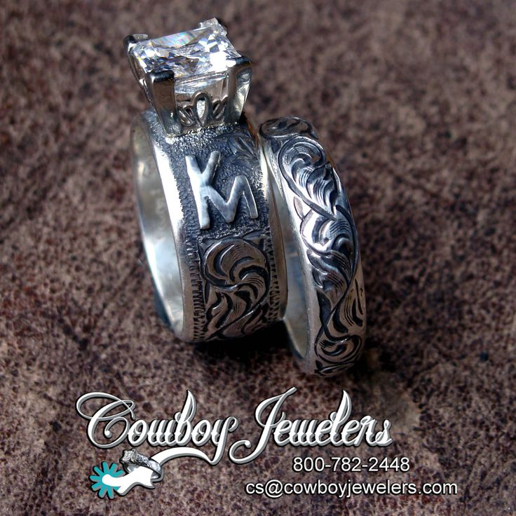 Shown As A Set The 8mm Western Wedding Band Has 2ct Princess Cut Setting And Customers Custom Brand In Sterling Silver On Each