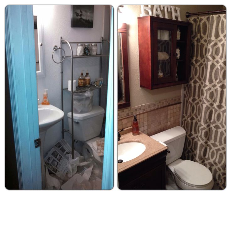 Remodeled small bathroom all purchases from lowes and for Updated small bathroom ideas