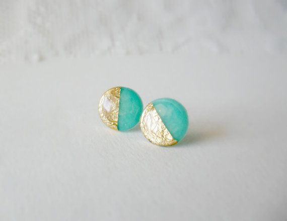 Mint green stud earrings Gold dipped mint posts by DivineDecadance